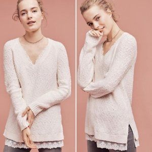 Anthropologie Knitted & Knotted lace trim sweater